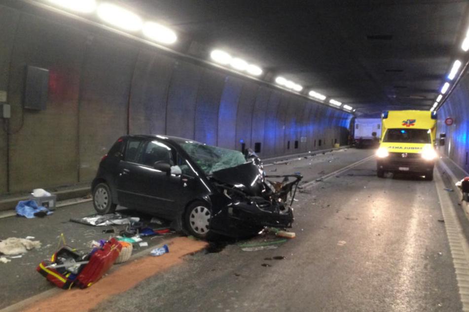 Der Mitsubishi, den Julius M. gefahren ist. Vier weitere Insassen haben sich in dem Auto befunden.