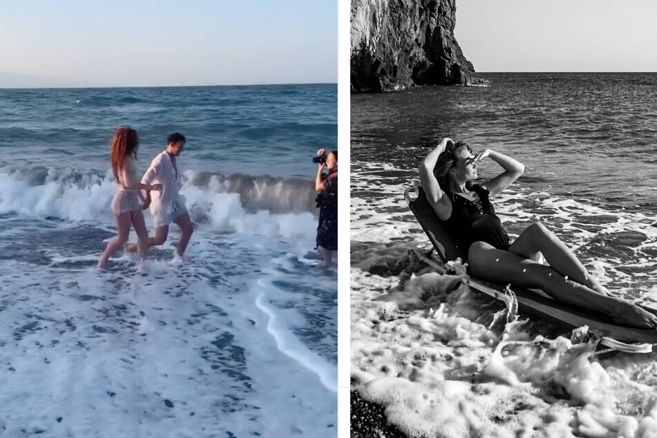Das Paar auf Santorini. (Fotocollage)