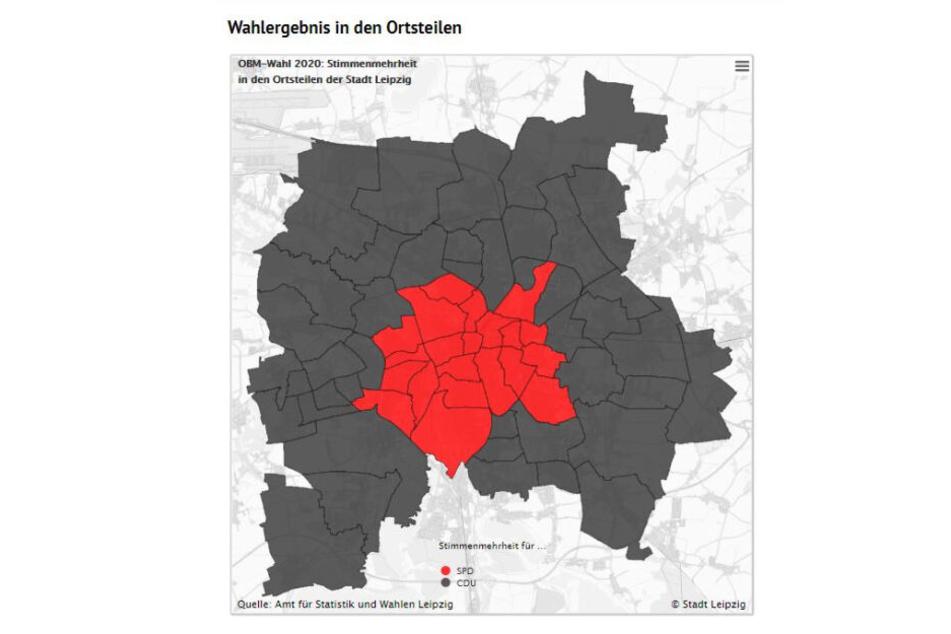 Der Leipziger OB-Wahlatlas: CDU-schwarz dominiert, aber die einwohnerstarken Stadtteile in Mitte und Süd sind SPD-rot.