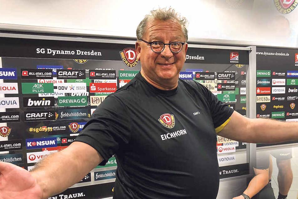 Mit 134 Kilo das Dynamo-Trikot bekommen: Matthias Eichhorn (58) ist überglücklich für seinen Verein zu trainieren.