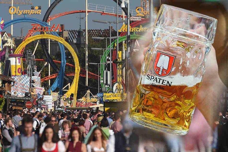 Auf dem Oktoberfest wird ordentlich Bier getrunken.