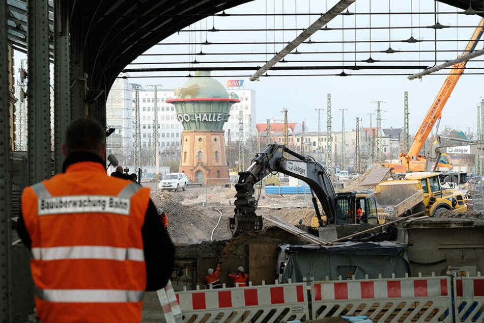Bereits im vergangenen November wurden umfangreiche Bauarbeiten am Hauptbahnhof Halle (Saale) vorgenommen.