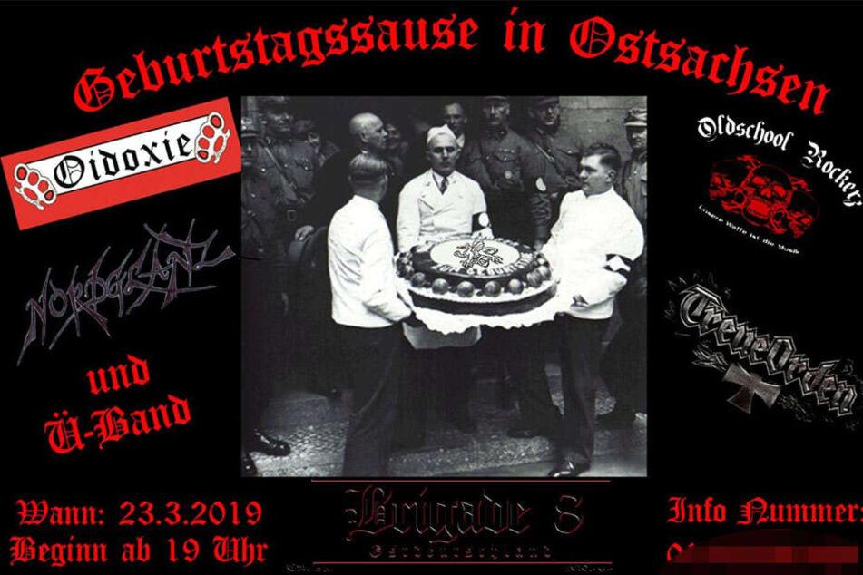 """Die """"Brigade 8"""" lud mit dem C18-Logo auf dem Kuchen zum Konzert nach Mücka."""