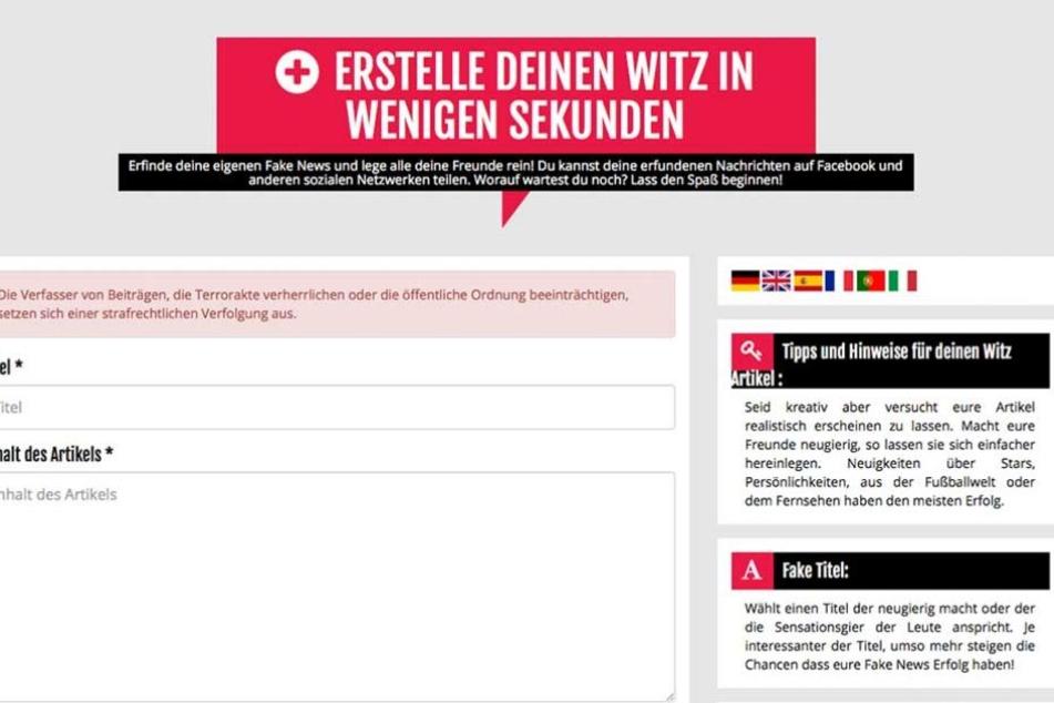 So kann jeder seine eigene Fake-News auf der Seite erstellen und veröffentlichen.
