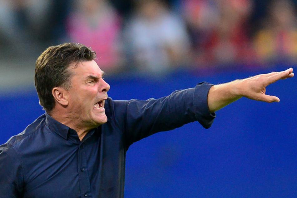 HSV-Trainer Dieter Hecking war vor allem mit der ersten Halbzeit nicht zufrieden.