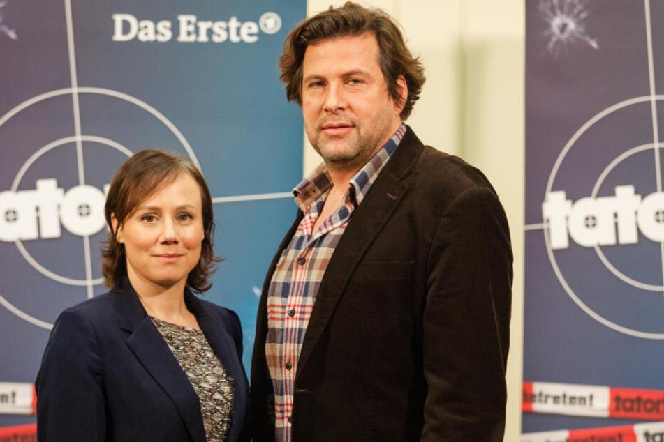 Eva Löbau und Hans-Jochen Wagner im Rundfunkhaus des SWR im Jahr 2015.