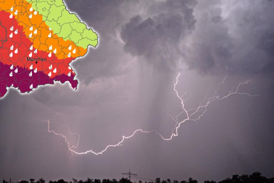 Im Süden Bayerns kann es zu extremen Unwettern kommen. (Bildmontage)