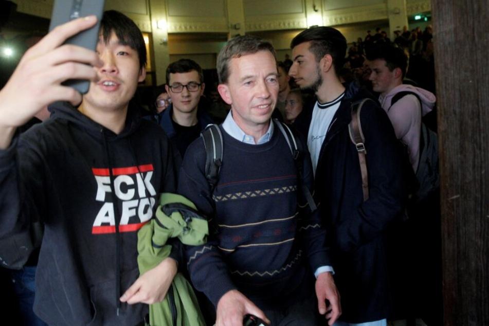 Der AfD-Gründer musste die Vorlesung abbrechen.
