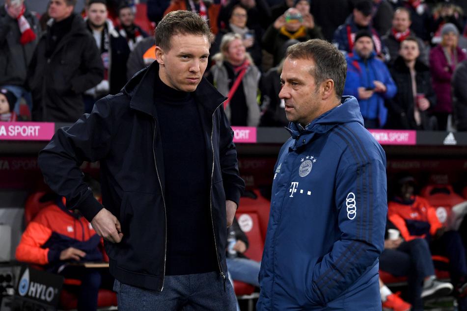 Wird Julian Nagelsmann (l., 33) Hansi Flick (56) beim FC Bayern München beerben? (Archivbild)