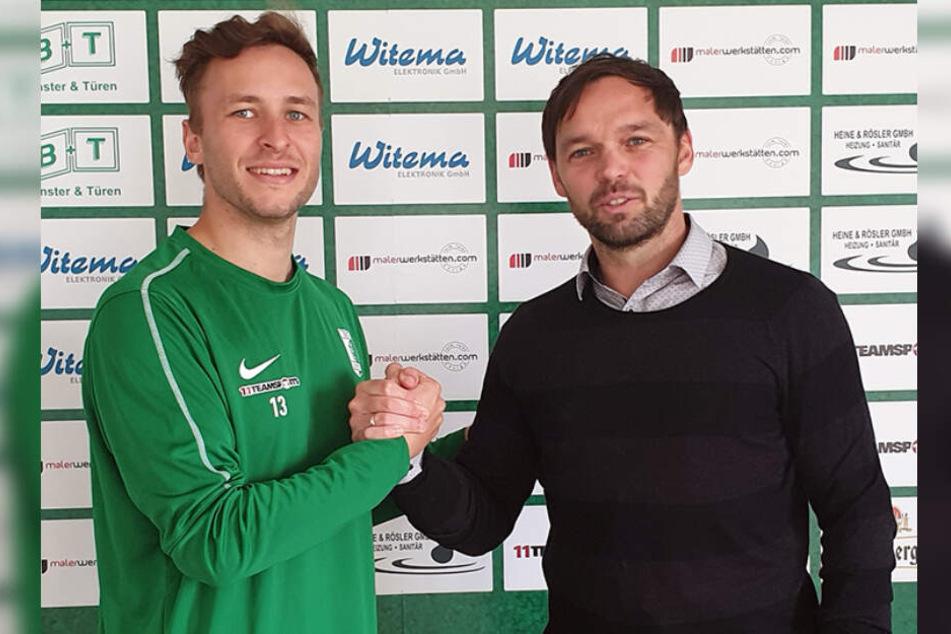 Benny Schmidt (29, li.) bleibt der BSG treu, Andy Müller-Papra freut's.
