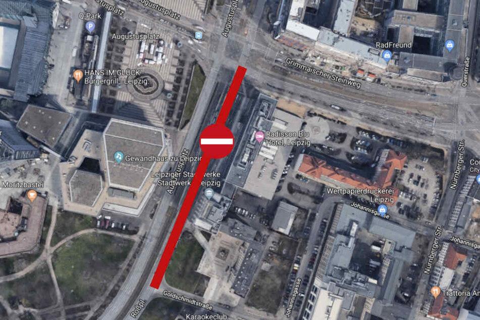 Zwischen Goldschmidtstraße und Grimmaischem Steinweg gibt es bis 29. Mai in Richtung Hauptbahnhof kein Durchkommen.