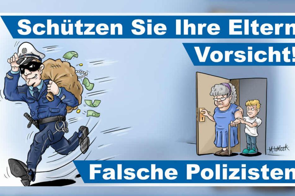 """Mit der Kampagne will die Polizei gegen die Betrugsmasche der """"falschen Polizisten"""" aufklären."""