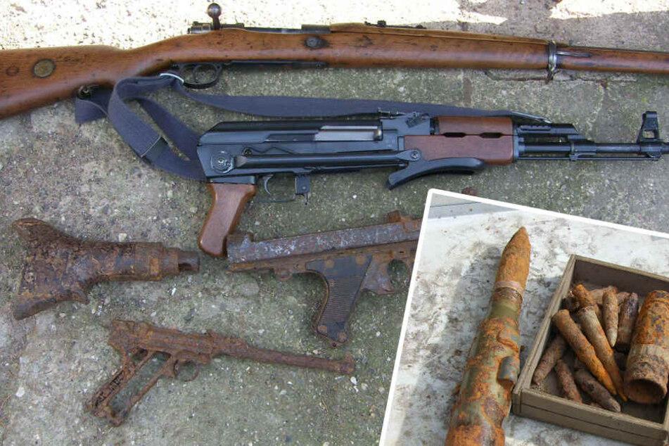 Polizei findet Pistolen, Granaten und Kalashnikow auf Privatgrundstück