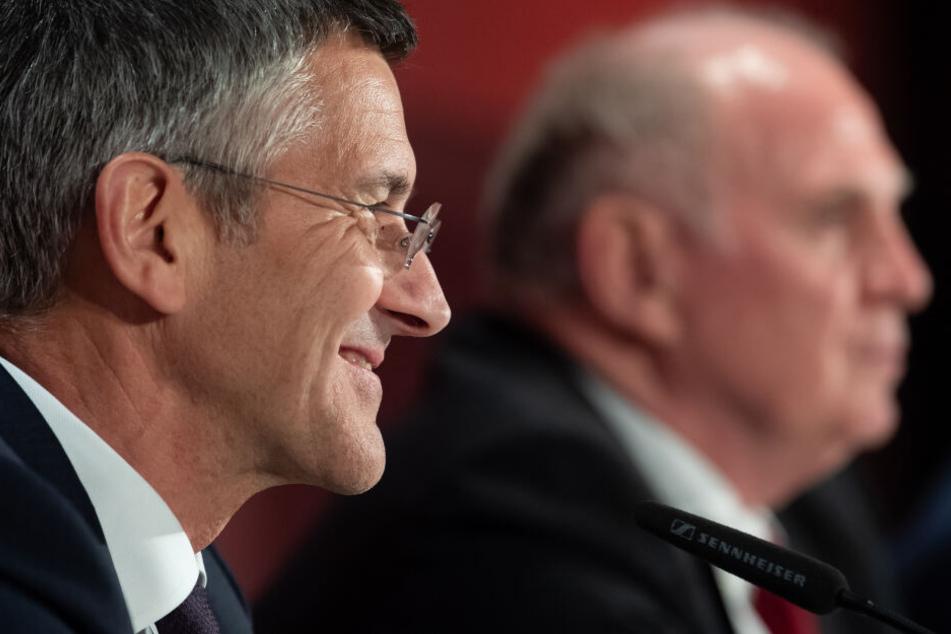 Herbert Hainer (l), neuer Präsident des FC Bayern, hält nichts von einer europäischen Superliga.