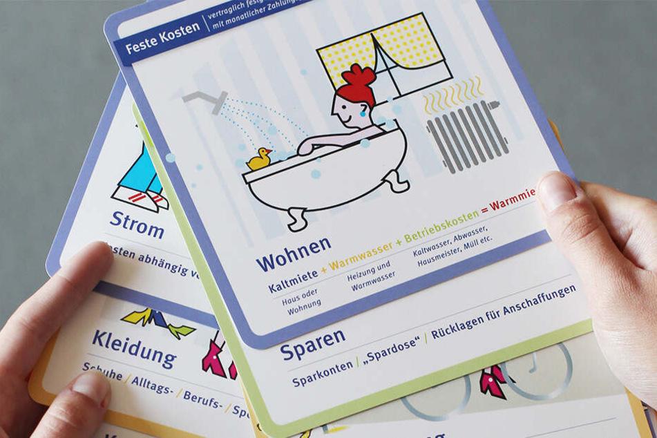 """Die """"Leipziger Wohnschule"""" verwendet Kostenkarten, mit deren Hilfe der Finanzbedarf für die eigene Wohnung ermittelt werden kann."""
