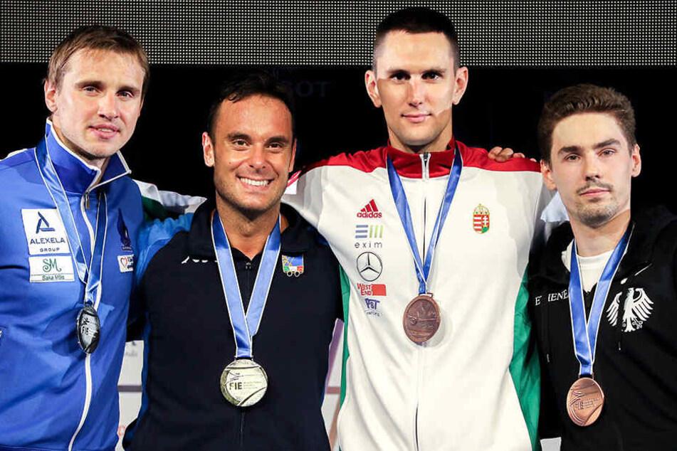 Die Degenfechter Nikolai Nowosjolow (2.Platz), Paolo Pizzo aus Italien (1.Platz), Andreas Redli aus Ungarn und Richard Schmidt (beide 3.Platz) nach der Siegerehrung.