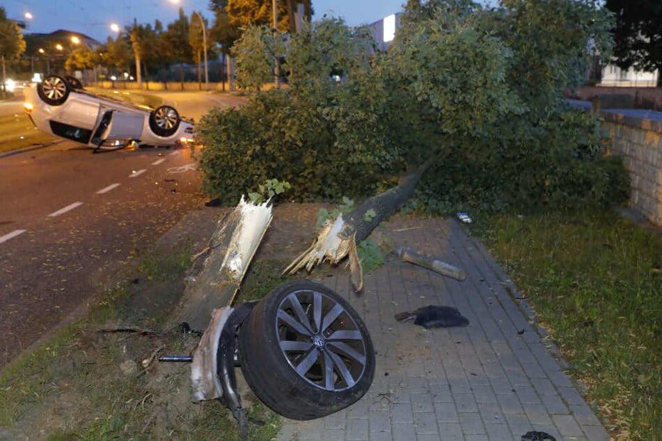 VW fällt Baum und überschlägt sich: Fahrerin verletzt