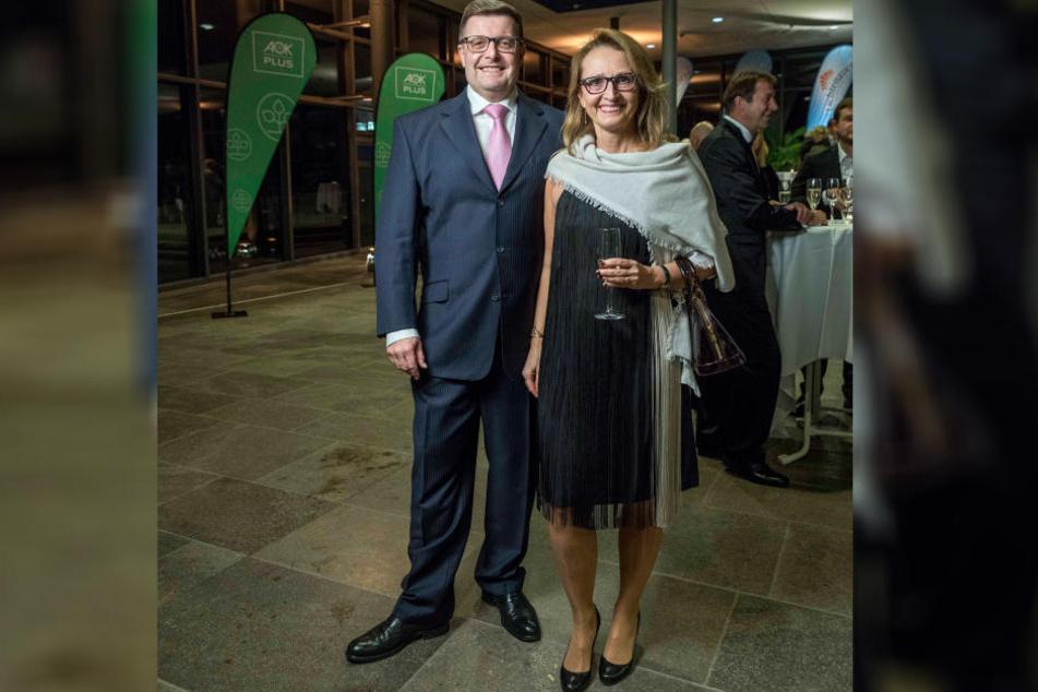 Der Chef der Ostsächsischen Sparkasse, Joachim Hoof, neben seiner Gattin Mirka.