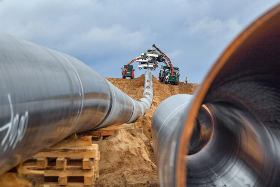 Durch diese Rohre der europäischen Gas-Anbindungsleitung EUGAL kann jetzt russisches Erdgas durch Sachsen strömen.