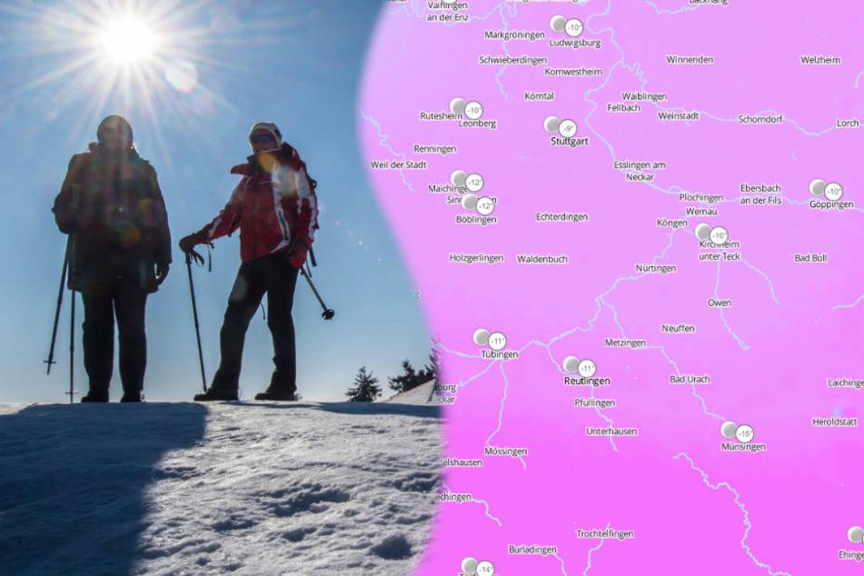 Auf dem Feldberg im Schwarzwald wurden am Montag Temperaturen von fast Minus 20 Grad gemessen. (Symbolbild/Fotomontage)