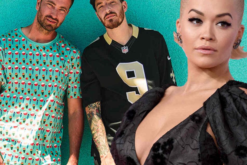 Fotomontage: Nationale Megastars wie Marteria und Casper (v.l.n.r.) sowie internationale Musik-Größen wie Rita Ora sind beim Wireless Germany Festival am Start.