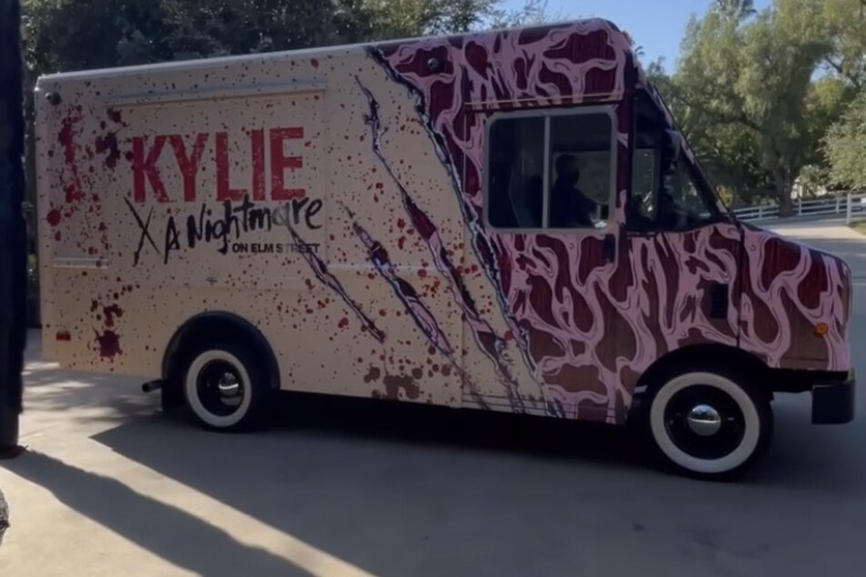 Kylie Jenner decked out Freddy Kreuger-themed truck that displayed her latest makeup line.
