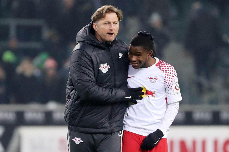 Ein gutes Team: In zehn Spielen schickte Trainer Ralph Hasenhüttl (l.) Ademola Lookman aufs Feld - starke sechs Torbeteiligungen sind die Folge.