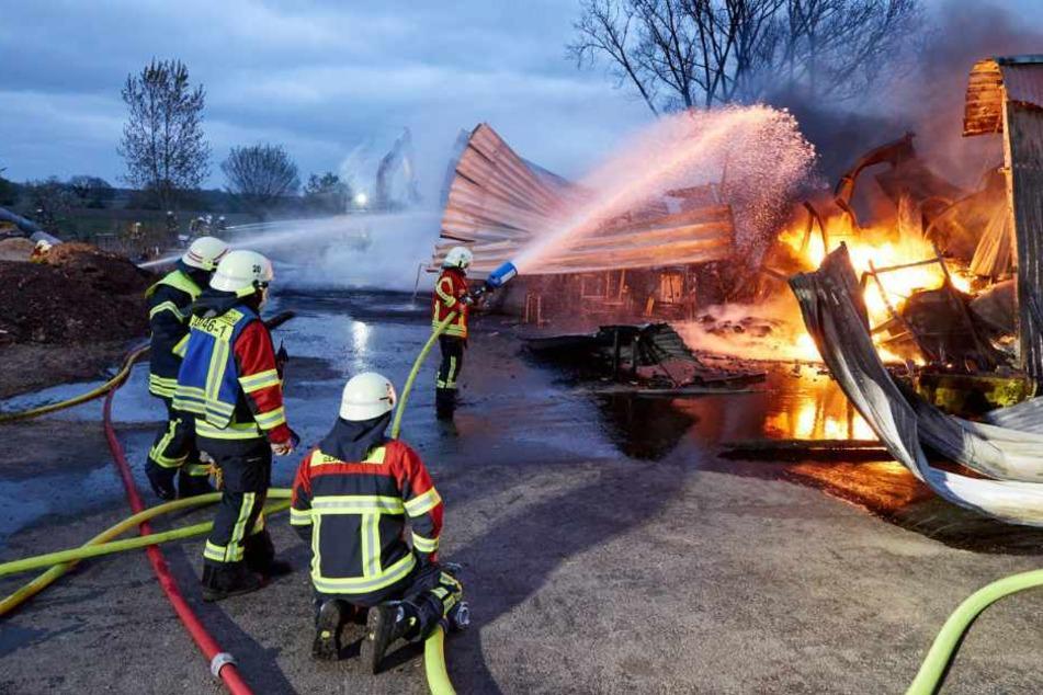 Die Feuerwehrkräfte kämpfen gegen die Flammen auf dem Bauernhof an.