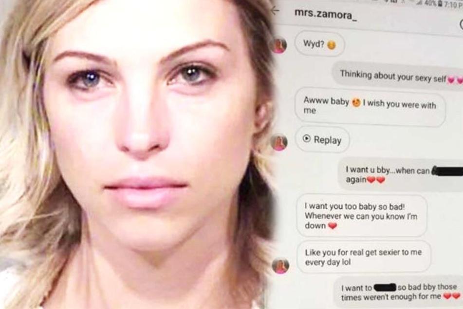 Ziemlich versaute Nachrichten tauschte Brittany Zamora (28) mit einem Jungen aus.