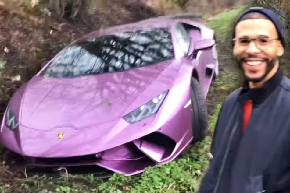 Er rast mit seinem Lamborghini in den Graben und hat gut Lachen