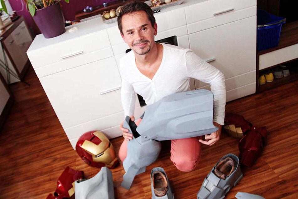 """So sah die """"Iron Man""""-Rüstung von Rocco Zschuppe 2016 aus. Viele Teile waren noch unlackiert oder noch gar nicht gegossen."""