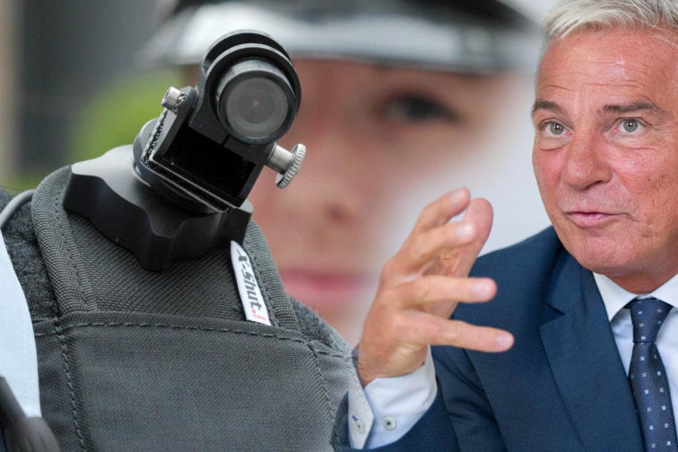 Baden-Württembergs Innenminister Thomas Strobl (CDU) kündigt Bodycams für Polizisten an. (Fotomontage)