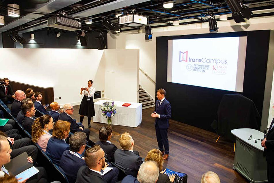 """In Londons King's College sprach Michael Kretschmer (43, CDU) über das sächsisch-britische """"transCampus""""-Erfolgsprojekt."""