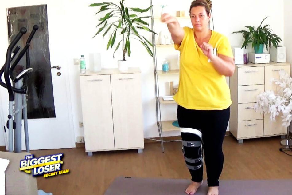 """Trotz Bein-Verletzung kämpft die Dresdnerin Doro (45) in der Sat.1-Show """"The Biggest Loser"""" tapfer gegen überschüssige Pfunde."""