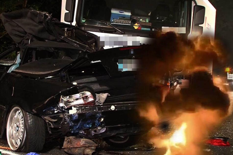 Am Donnerstagmorgen waren ein Pkw und ein Sattelzug in einen schweren Verkehrsunfall auf der BAB9 verwickelt. Der Pkw geriet dabei in Brand. (Symbolbild)
