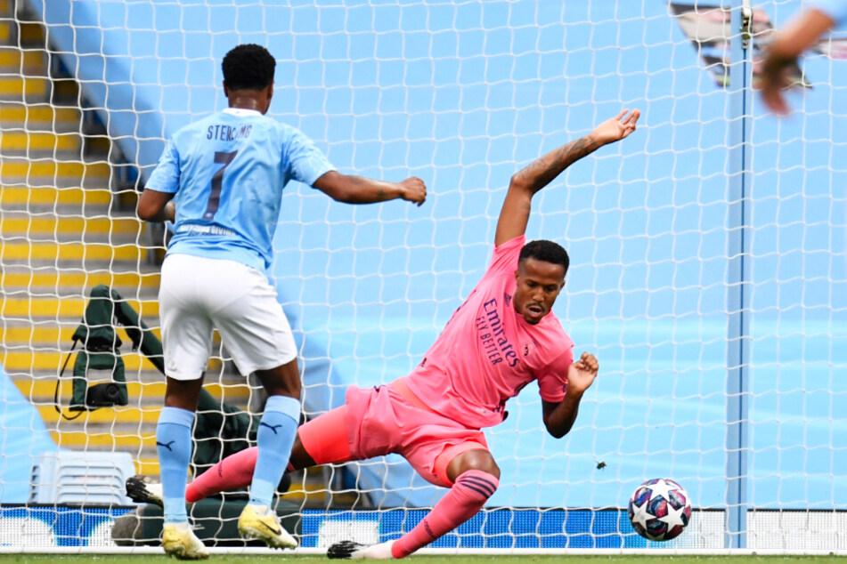 Raheem Sterling (l.) brachte Manchester City früh gegen Real Madrid mit 1:0 in Führung.