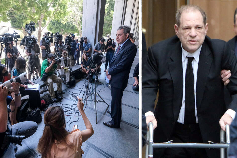 Harvey Weinstein has pleaded not guilty to sexual assault charges (r). His attorney Mark Werksman (l) spoke outside the court following the plea on Wednesday.