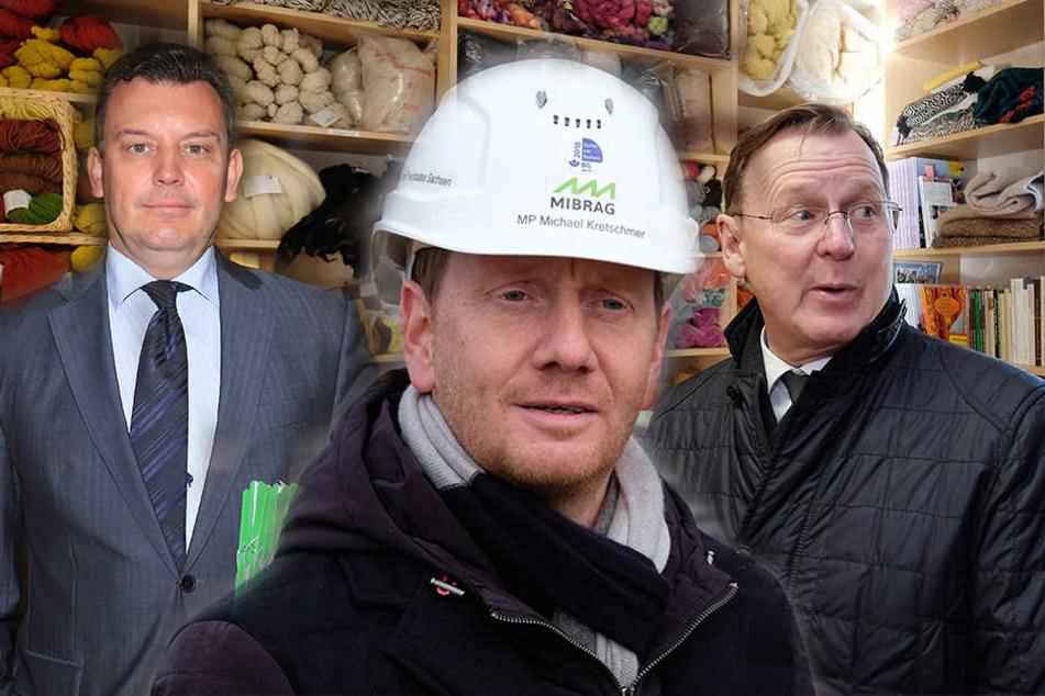 Sie sprechen sich für mehr Zusammenarbeit aus: Sachsen-Anhalts Finanzminister André Schröder und die Ministerpräsidenten Michael Kretschmer und Bodo Ramelow (v.l.n.r.)