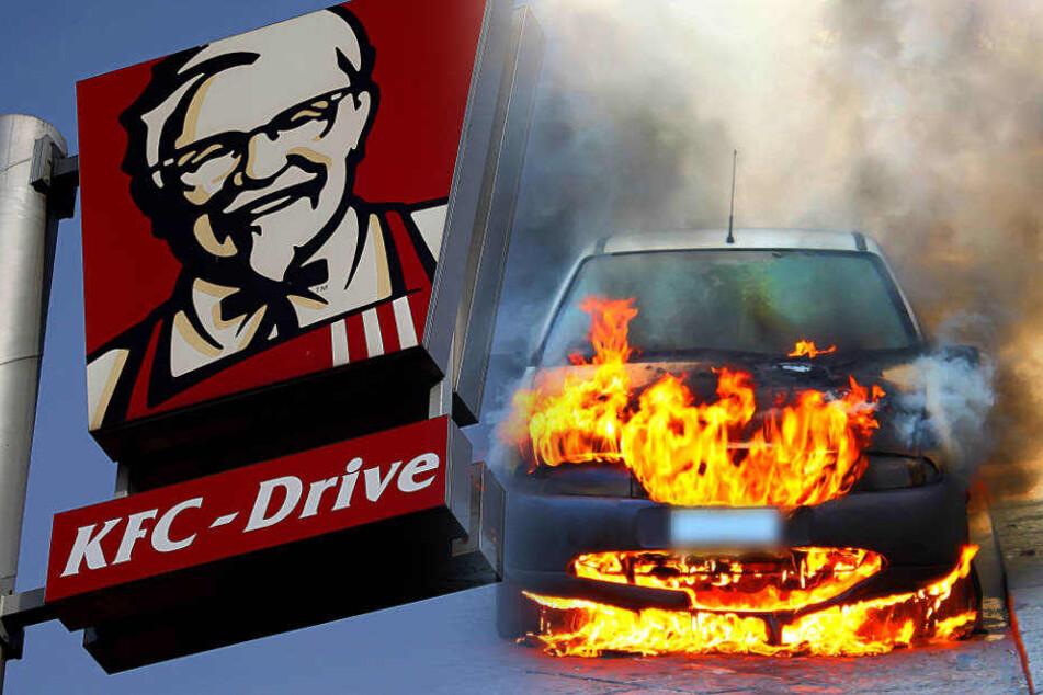 Mercedes kracht in KFC-Leuchtreklame und fackelt ab: Insassen türmen