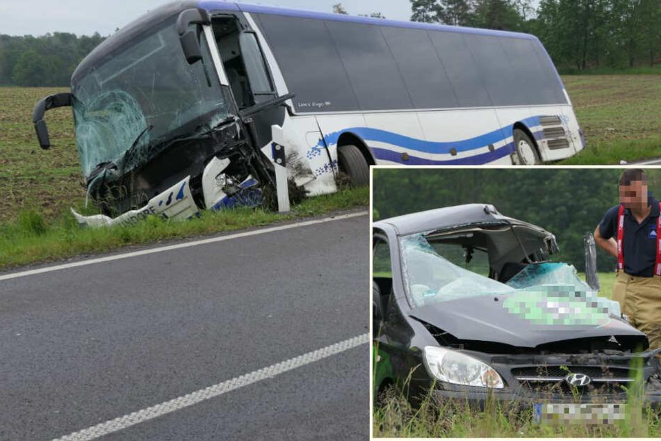 Nach Horror-Crash mit Bus bei Leipzig: Unfallopfer gestorben