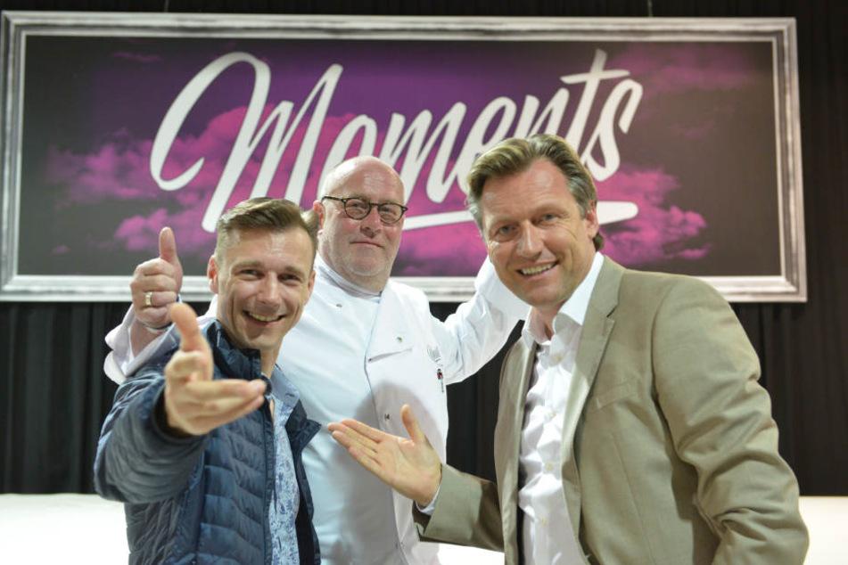 """Eingespieltes Team: Showmacher Guido Gentzel (41, v.l.), Küchenchef Andreas Kirsch (58) und Eventprofi Mirco Meinel (45) stellten gestern die neue Dinner-Show """"Moments 2"""" vor."""