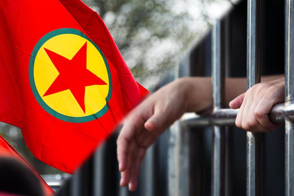 Links ist die verbotene Fahne der PKK-Arbeiterpartei.