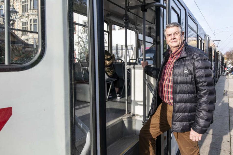 Tristan Drechsel (64, BfZ) scheiterte im Stadtrat mit dem Antrag, die Straßenbahngleise zum Hauptbahnhof sanieren zu lassen.