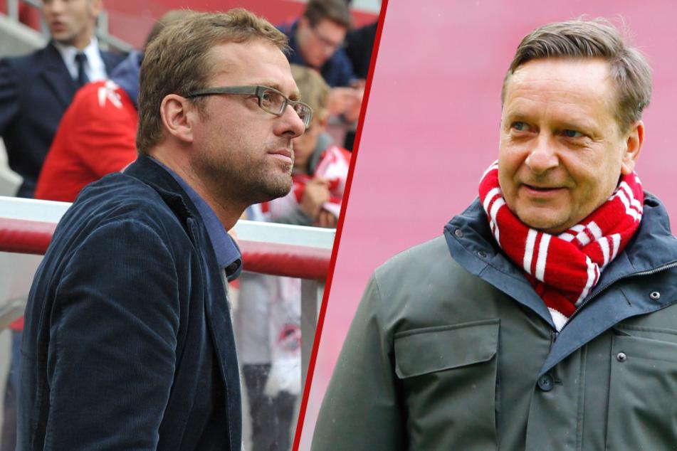Zwischen Horst Heldt (51, r.) und seinem Nachfolger beim 1. FC Köln, Jörg Jakobs (50), herrscht dicke Luft. (Fotomontage)