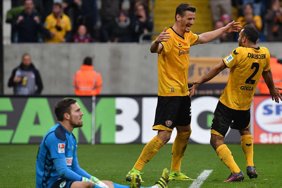 Besorgten allein 26 Treffer und damit fast die Hälfte der Dresdner Tore: Stefan Kutschke (M.) und Akaki Gogia.