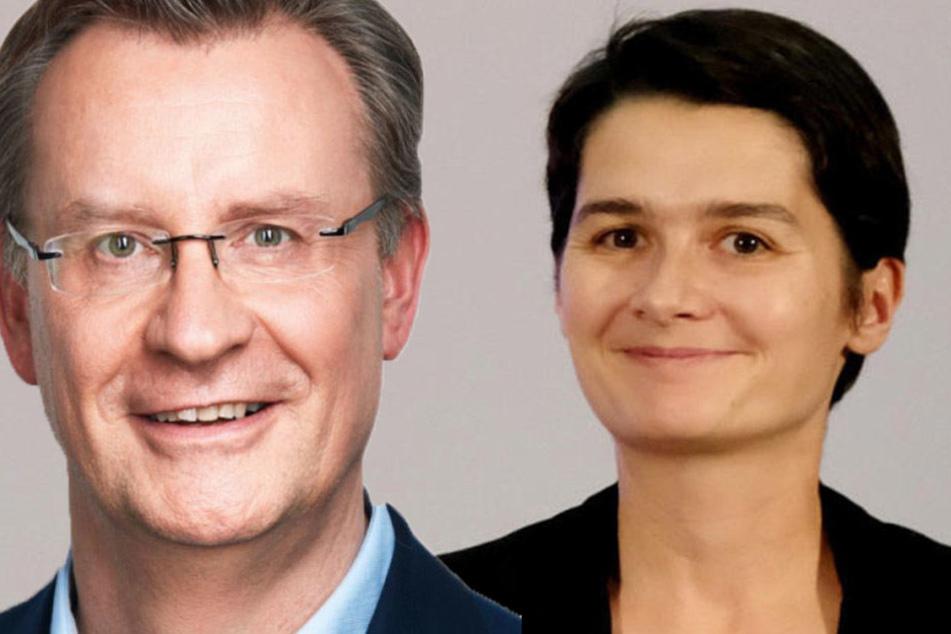Für die Leipziger SPD-Direktkandidaten Jens Katzek (l.) und Daniela Kolbe (r.) war es ein bitterer Wahl-Sonntag.