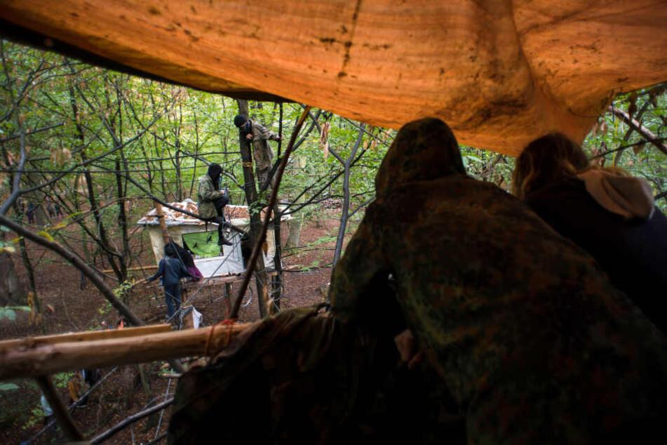 Aktivisten bewachen ihre Baumhäuser.