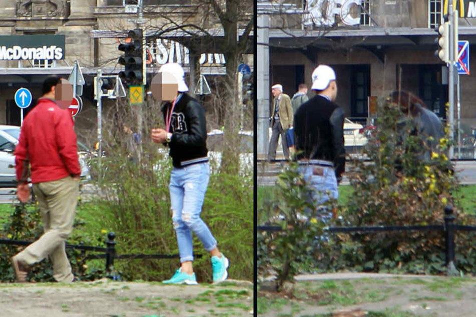 Gut gelaunt läuft der junge Mann mit der weißen Kappe im Park am Schwanenteich auf und ab, spricht freundlich Passanten an. Mit einer jungen Frau verschwindet er dann hinter die Rabatte, etwas wechselt von Hand zu Hand.