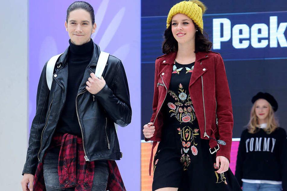 Modebewusst in den Herbst: Zwei Models präsentieren Kollektionen auf dem  Laufsteg am Neumarkt.