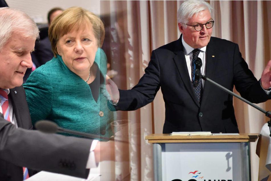 Bundespräsident Steinmeier (62) hat kein Verständnis für den Zoff in der Union zwischen Merkel und Seehofer. (Bildmontage)